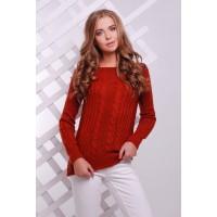Женский однотонный свитер фактурной вязки цвета терракот