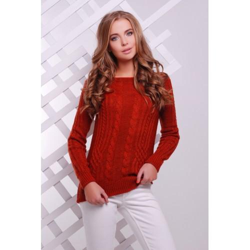 Жіночий однотонний светр фактурної в'язки терракот