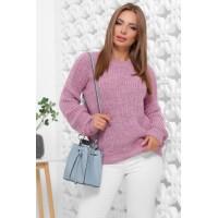 Жіночий зимовий однотонний светр oversize бузковий