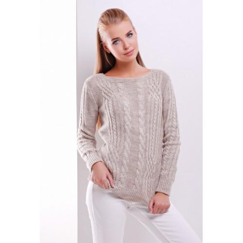 Жіночий однотонний светр фактурної в'язки кольору капучино