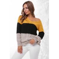 Жіночий в'язаний светр теплий з трикутним вирізом