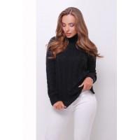 Жіночий теплий в`язаний светр під горло чорний
