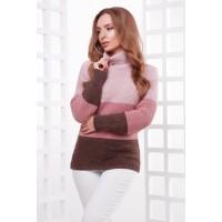 Жіночий теплий светр під горло трьох кольорів пудра-роза-коричневий