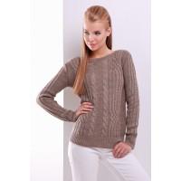 Жіночий однотонний светр фактурної в'язки кольору кофе