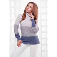 Жіночий теплий светр під горло трьох кольорів світло-сірий