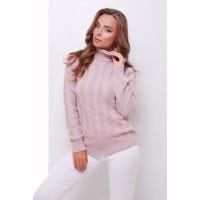 Жіночий теплий в`язаний светр під горло пудровий