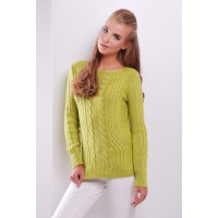 Женский однотонный свитер фактурной вязки фисташкового цвета