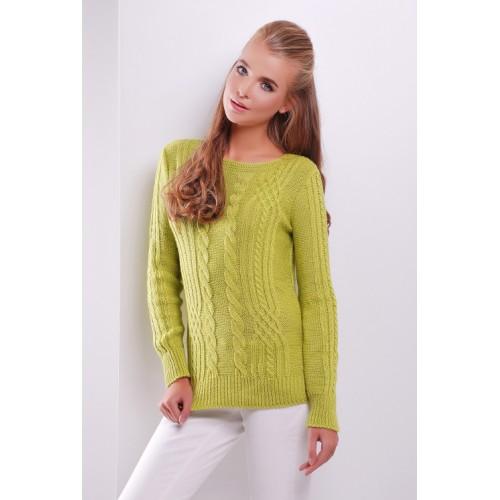 Жіночий однотонний светр фактурної в'язки фісташкового кольору