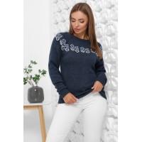 Жіночий зимовий светр з візерунком синій
