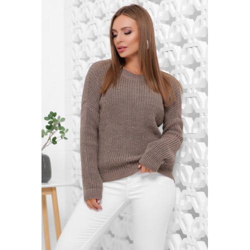 Жіночий зимовий однотонний светр oversize кавовий