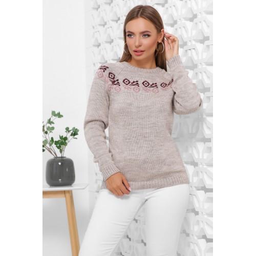 Жіночий зимовий светр з візерунком капучино