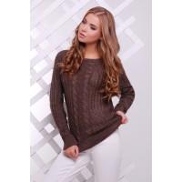 Женский однотонный свитер фактурной вязки коричневого цвета