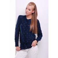 Свитер женский модной вязки темно-синего цвета с пояском-кулиской