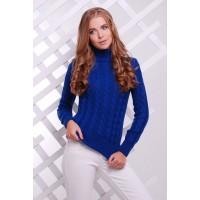 Жіночий теплий в`язаний светр під горло електрик
