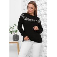 Жіночий зимовий светр з візерунком чорний