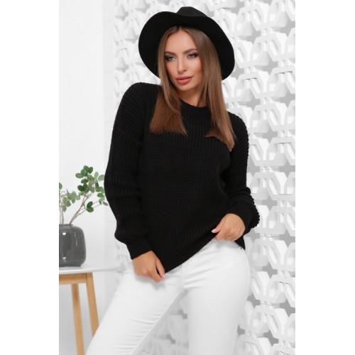 Жіночий зимовий однотонний светр oversize чорний