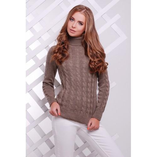 Жіночий теплий в`язаний светр під горло кофейний