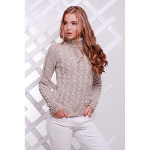 Жіночий теплий в`язаний светр під горло капучино