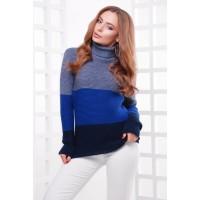 Жіночий теплий светр під горло трьох кольорів св.джинс-електрик-т.синій