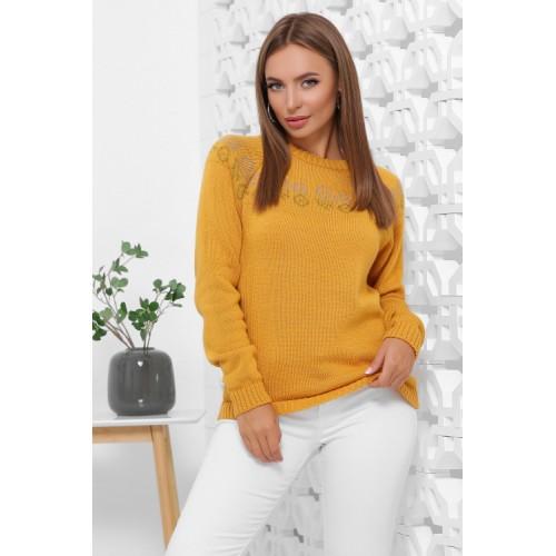 Жіночий зимовий светр з візерунком гірчичний