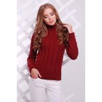Жіночий теплий в`язаний светр під горло бордовий
