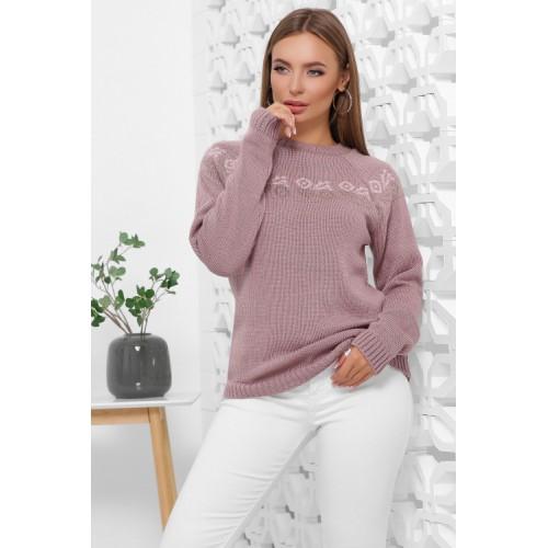 Жіночий зимовий светр з візерунком фрезовий