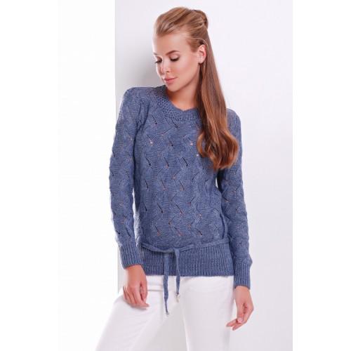 Светр жіночий модної в'язки джинсового кольору пояском-куліскою