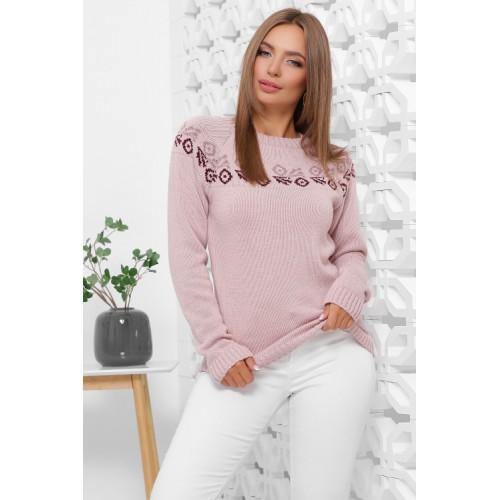 Жіночий зимовий светр з візерунком пудровий