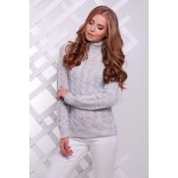 Жіночий теплий в`язаний светр під горло світло-сірий