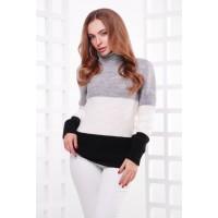 Жіночий теплий светр під горло трьох кольорів т.сірий-молоко-чорний