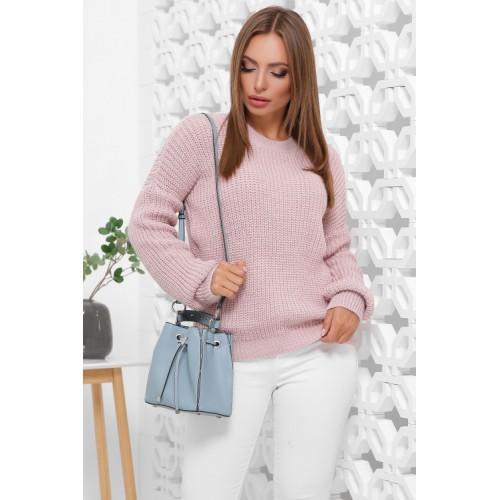 Женский зимний однотонный свитер oversize пудра