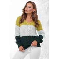 Стильный женский свитер трех цветов с V-образным вырезом косичкою