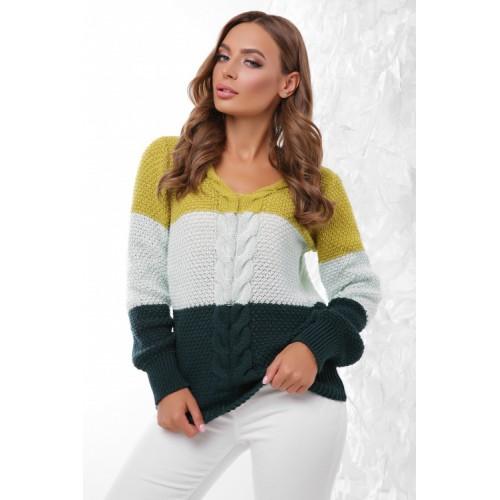 Жіночий светр три кольори з V-подібним вирізом косичкою