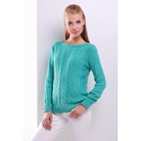 Жіночий однотонний светр фактурної в'язки з крулим вирізом