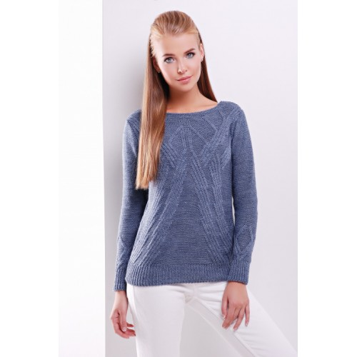 Светр жіночий з круглим вирізом і модною в'язкою джинсового кольору