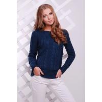 Женский однотонный свитер фактурной вязки джинсового цвета