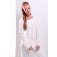 Женский однотонный свитер фактурной вязки молочного цвета