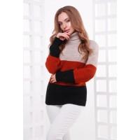 Жіночий теплий светр під горло трьох кольорів капучино-терракот-чорний