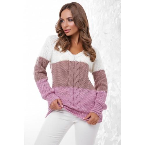 Женский вязаный свитер разноцветный с треугольным вырезом