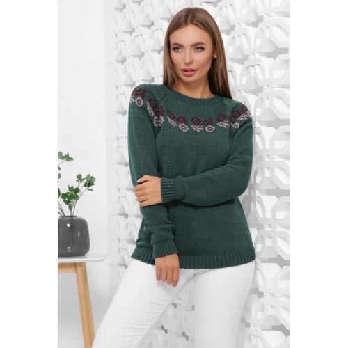 Жіночий зимовий светр з візерунком ізумрудний
