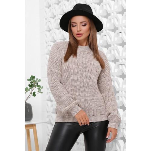 Жіночий зимовий однотонний светр oversize капучино