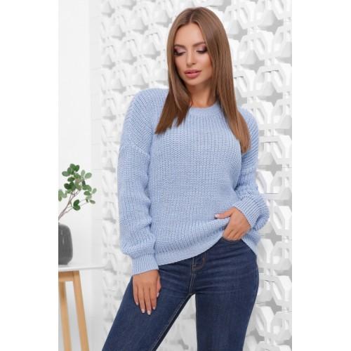 Жіночий зимовий однотонний светр oversize голубий