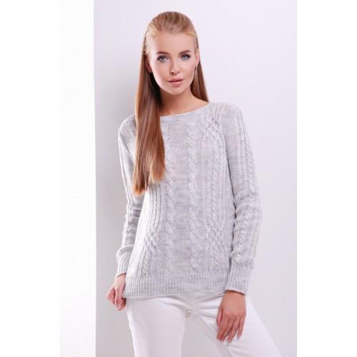 Жіночий однотонний светр фактурної в'язки світло-сірий  кольору
