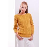 Женский однотонный свитер фактурной вязки горчичного цвета
