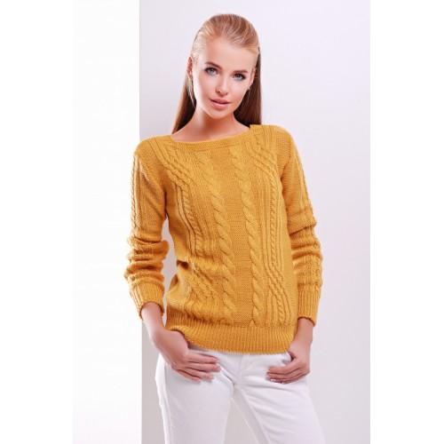 Жіночий однотонний светр фактурної в'язки гірчичного кольору