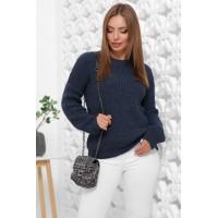 Жіночий зимовий однотонний светр oversize джинс