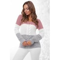 Трехцветный стильный женский свитер с V-образным вырезом