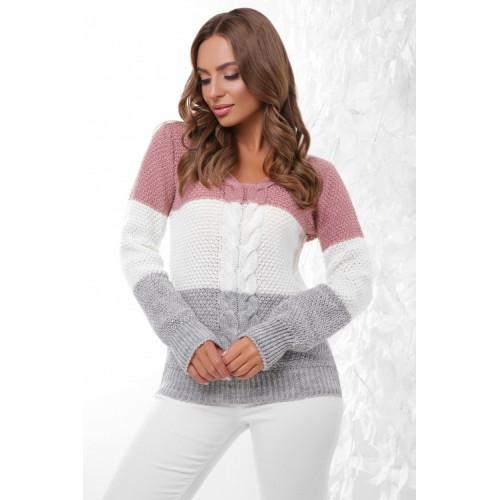 Триколірний стильний жіночий светр з V-подібним вирізом
