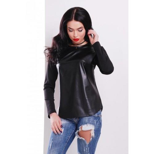 Комбинированная женская кофта с эко-кожей черная