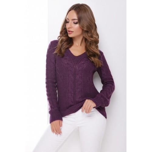 Джемпер жіночий з трикутним вирізом і візерунком косичка фіолетового кольору